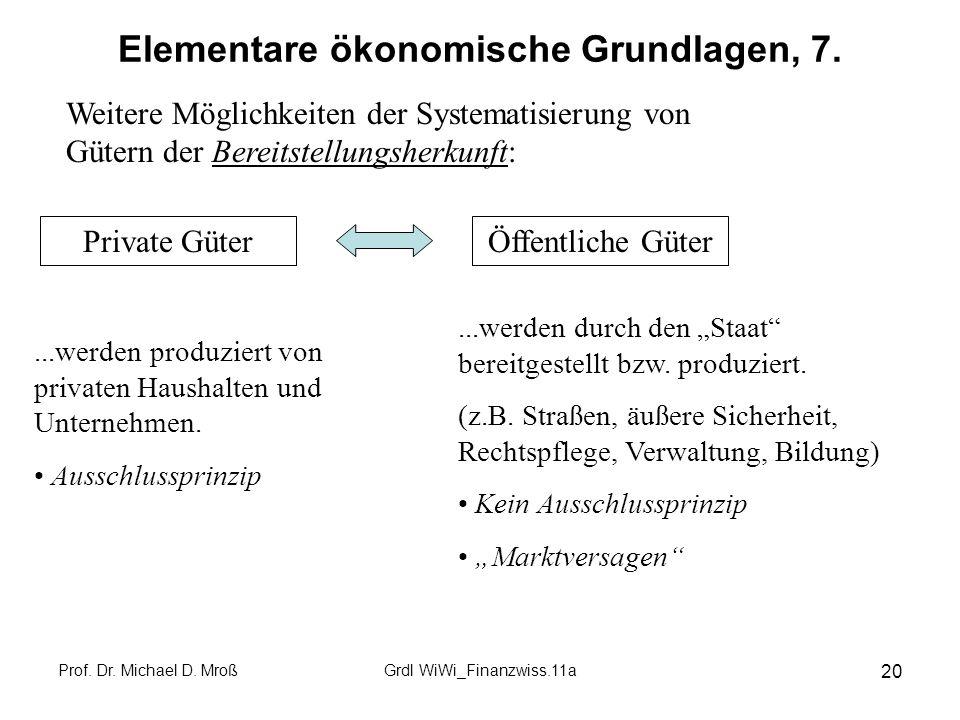 Elementare ökonomische Grundlagen, 7.