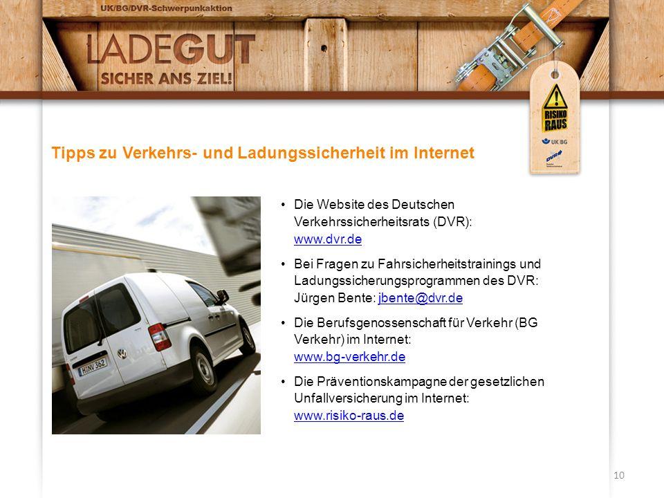 Tipps zu Verkehrs- und Ladungssicherheit im Internet
