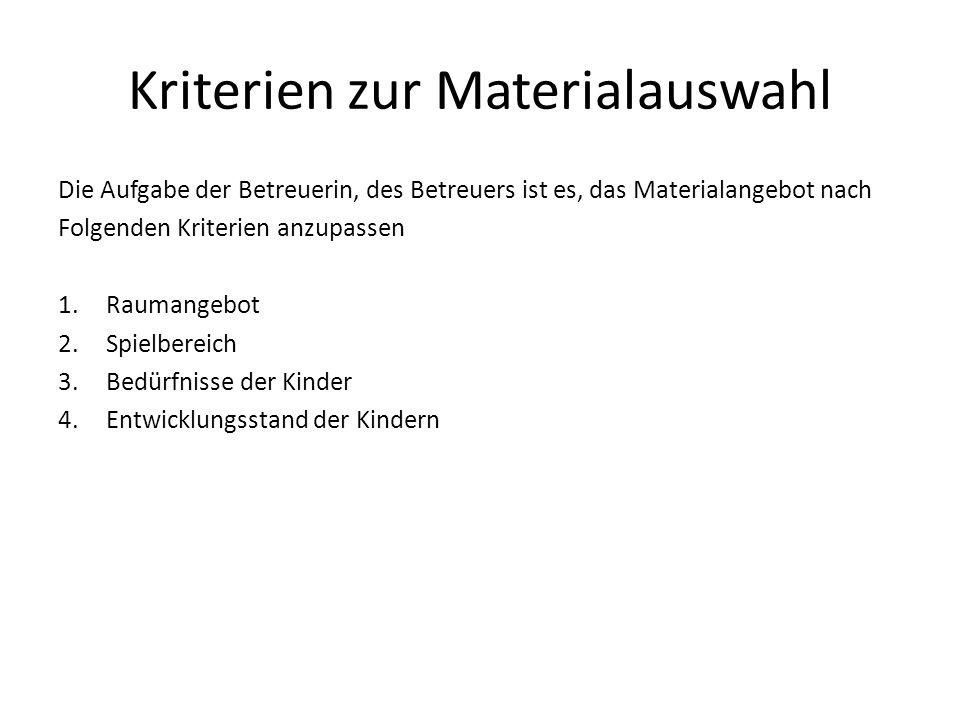 Kriterien zur Materialauswahl