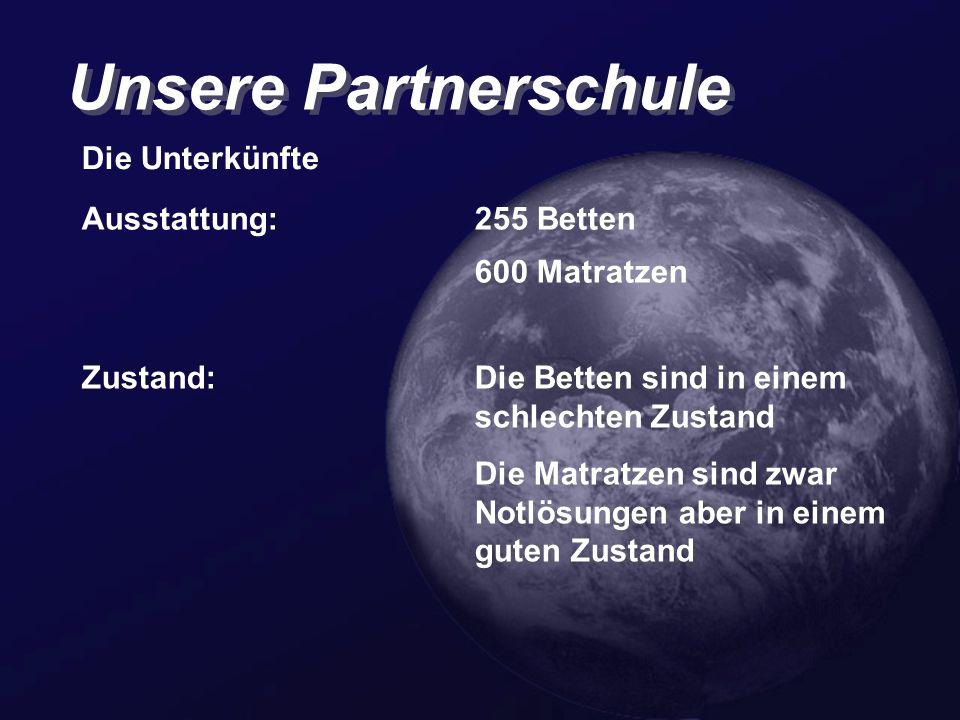 Unsere Partnerschule Die Unterkünfte Ausstattung: 255 Betten