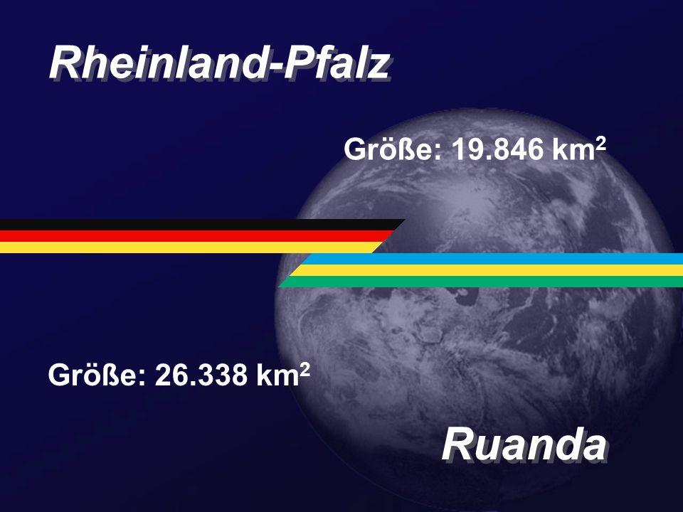 Rheinland-Pfalz Größe: 19.846 km2 Größe: 26.338 km2 Ruanda