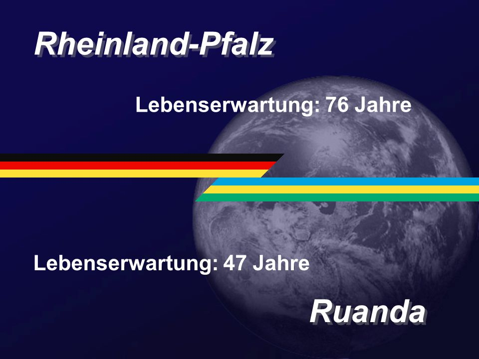 Rheinland-Pfalz Ruanda Lebenserwartung: 76 Jahre