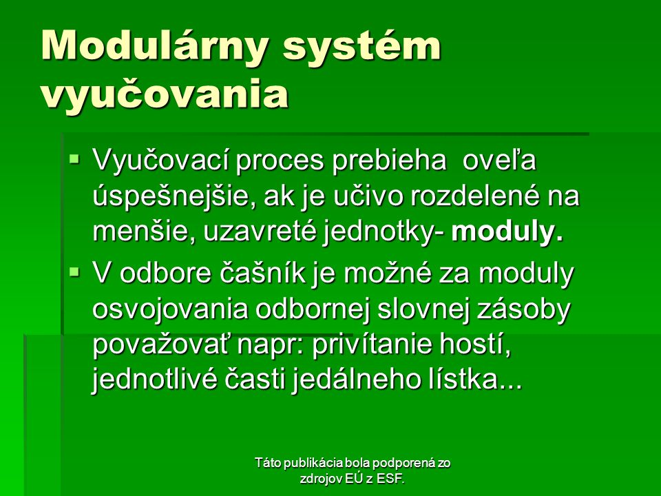 Modulárny systém vyučovania