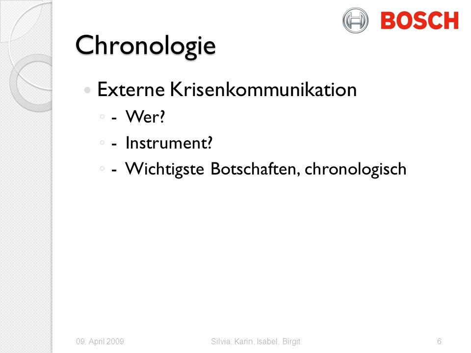 Chronologie Externe Krisenkommunikation - Wer - Instrument