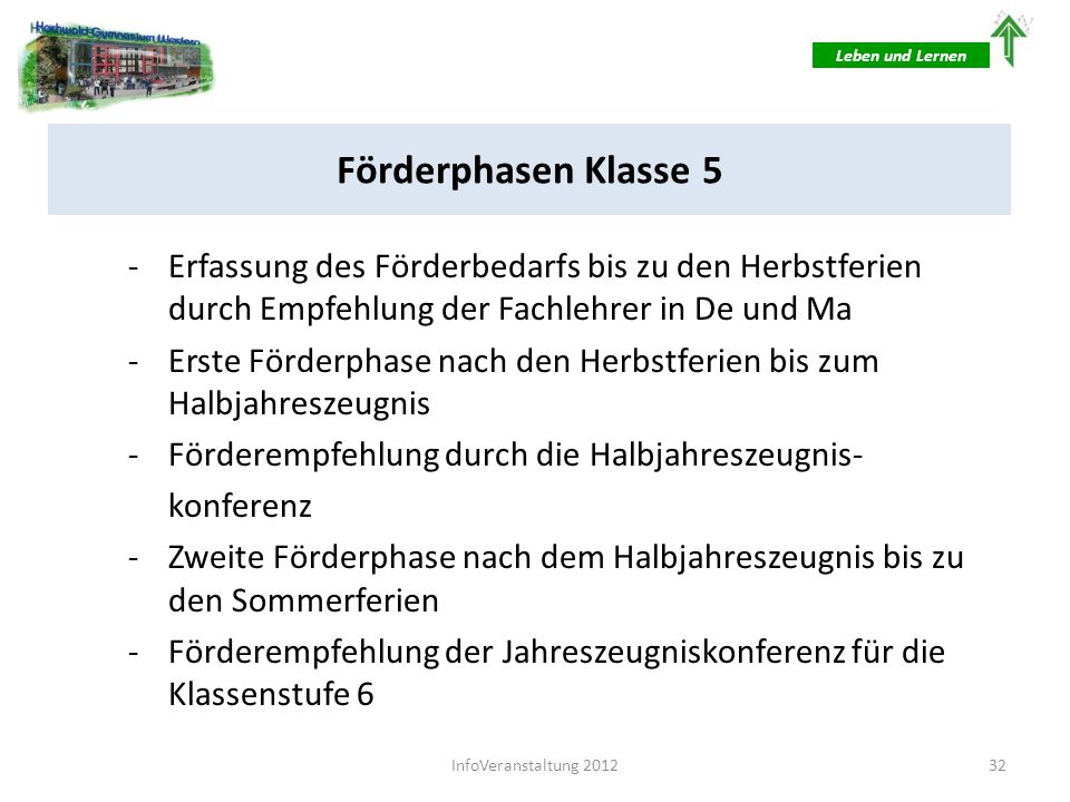 Leben und LernenFörderphasen Klasse 5. Erfassung des Förderbedarfs bis zu den Herbstferien durch Empfehlung der Fachlehrer in De und Ma.