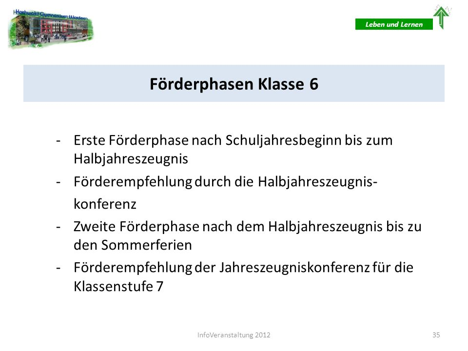 Leben und LernenFörderphasen Klasse 6. Erste Förderphase nach Schuljahresbeginn bis zum Halbjahreszeugnis.