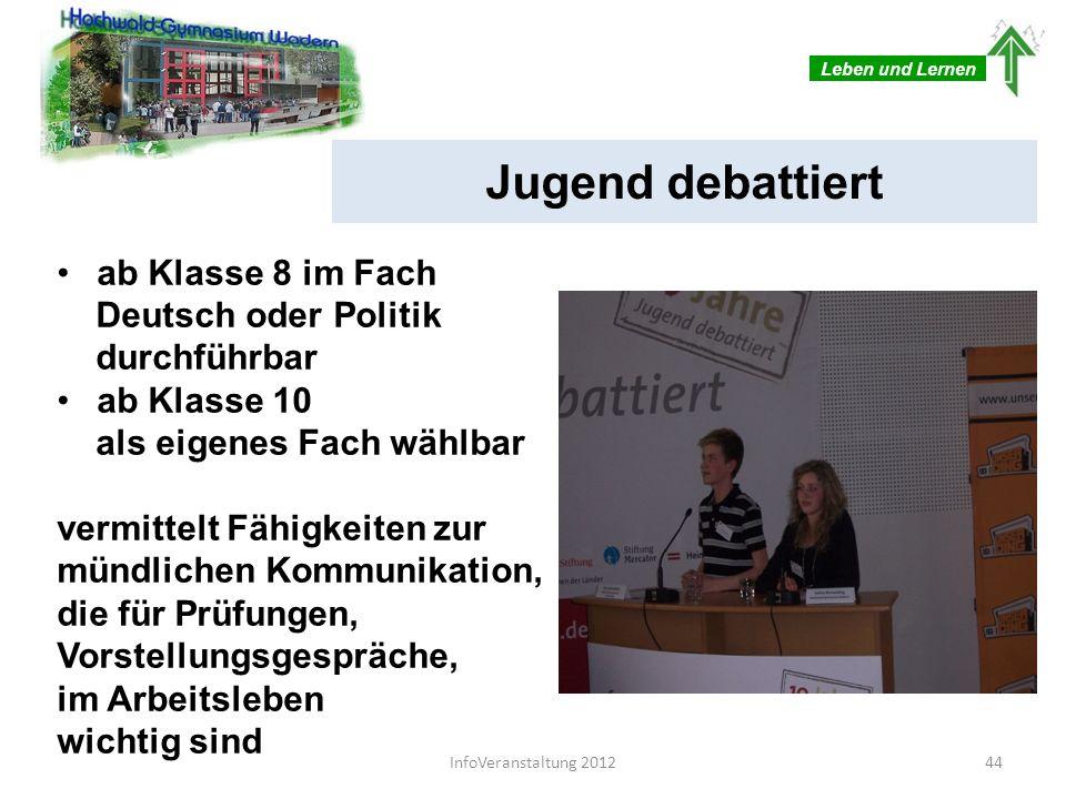 Jugend debattiert ab Klasse 8 im Fach Deutsch oder Politik