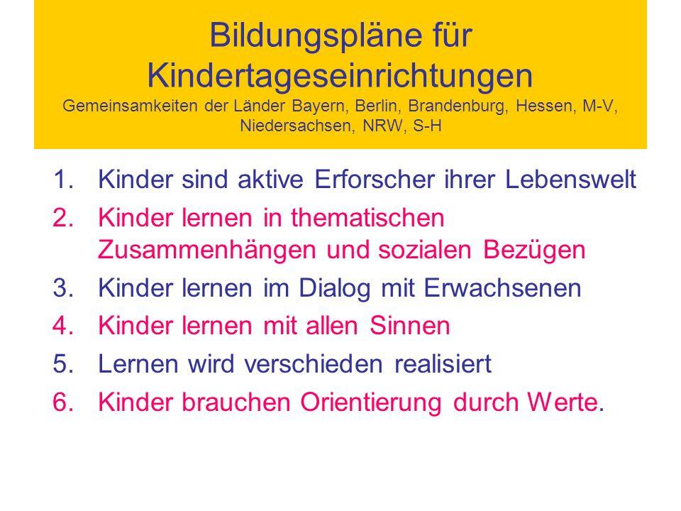 Bildungspläne für Kindertageseinrichtungen Gemeinsamkeiten der Länder Bayern, Berlin, Brandenburg, Hessen, M-V, Niedersachsen, NRW, S-H