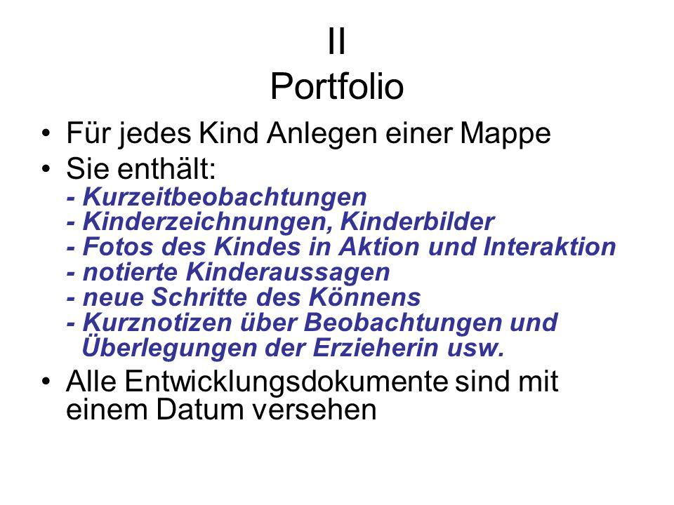 II Portfolio Für jedes Kind Anlegen einer Mappe
