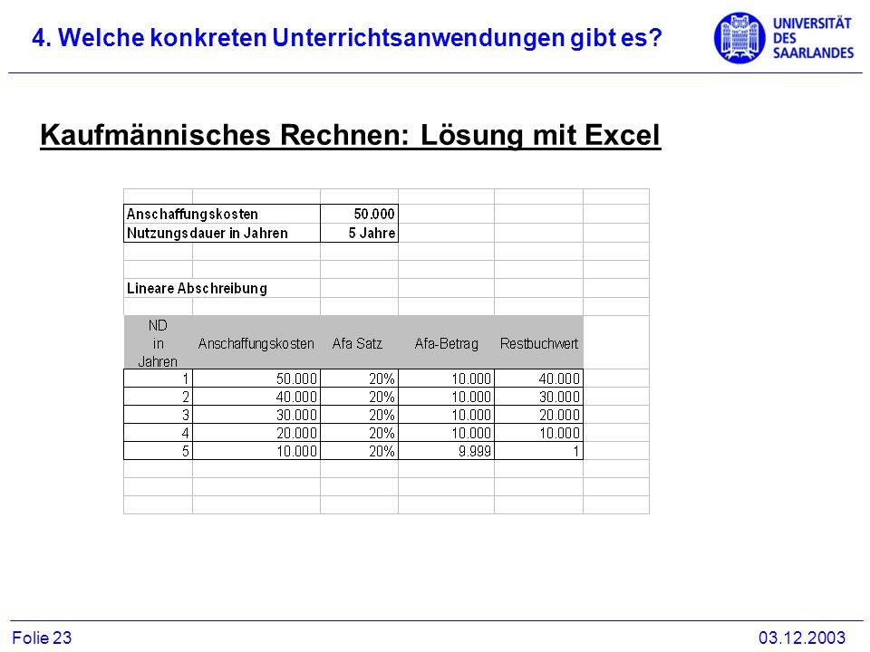 Kaufmännisches Rechnen: Lösung mit Excel