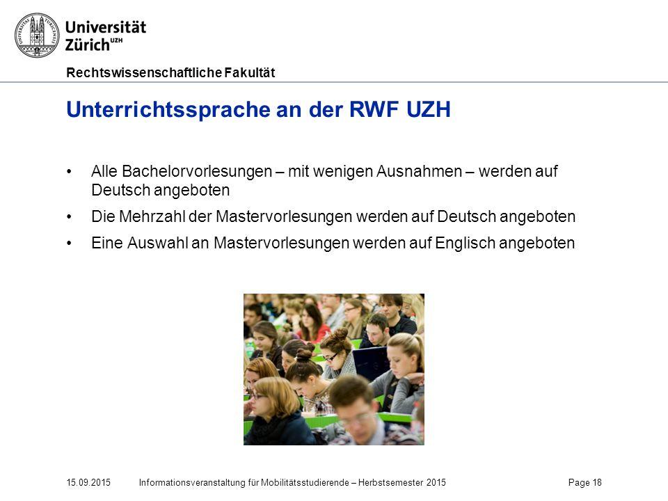 Unterrichtssprache an der RWF UZH
