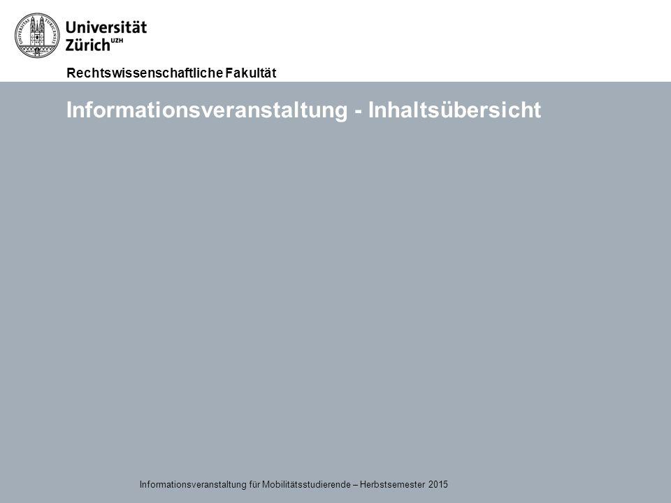 Informationsveranstaltung - Inhaltsübersicht