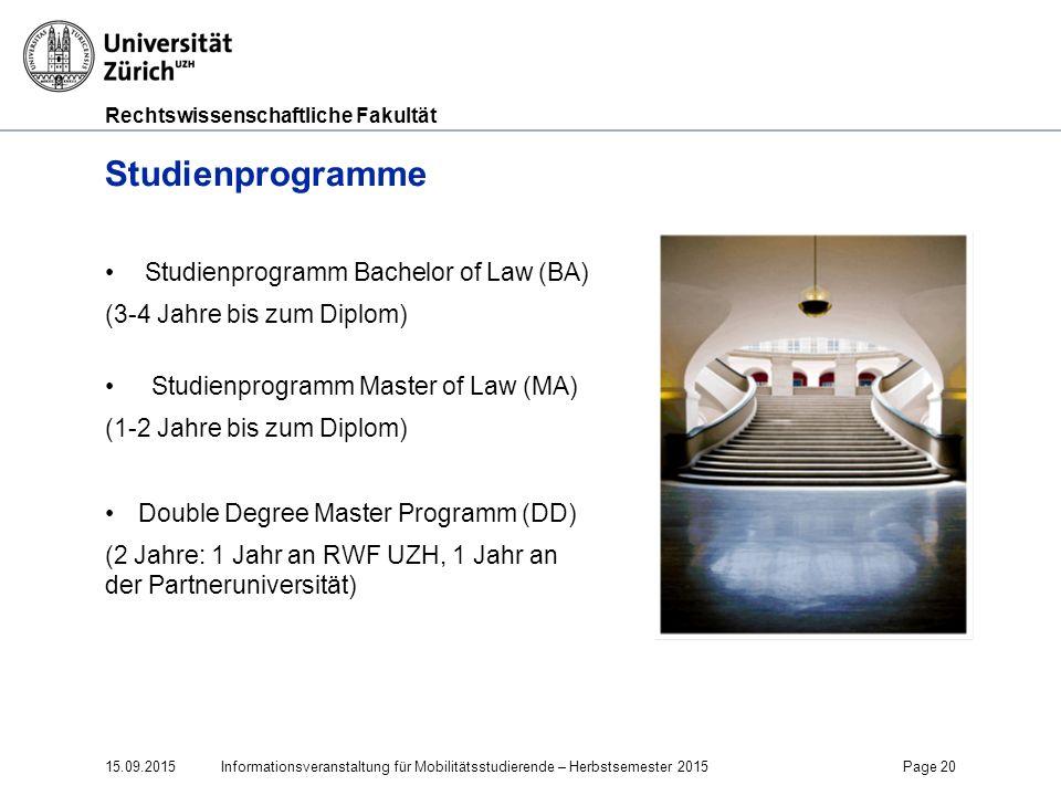 Studienprogramme Studienprogramm Bachelor of Law (BA)