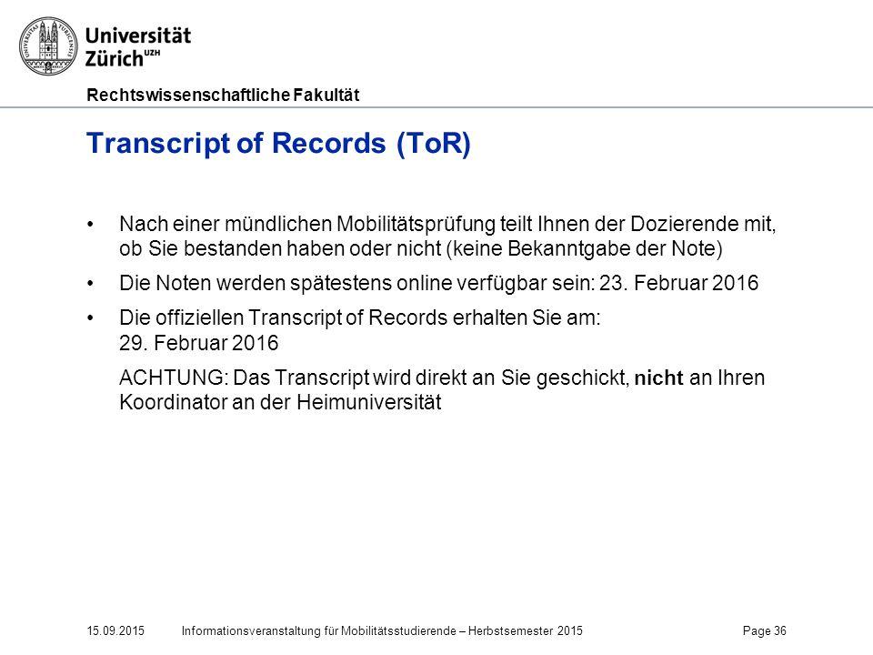 Transcript of Records (ToR)