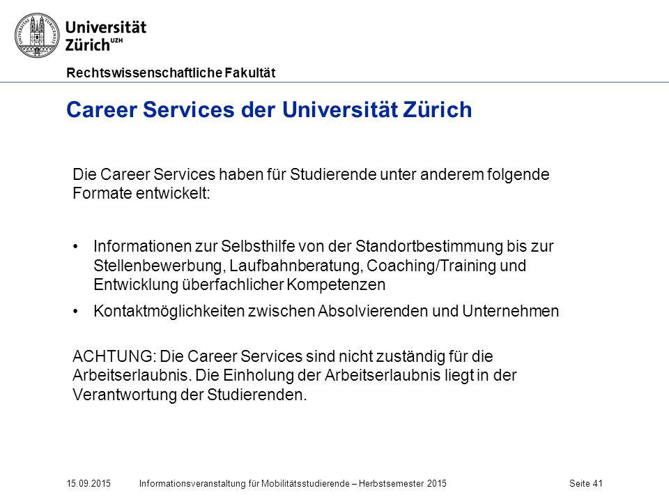 Career Services der Universität Zürich