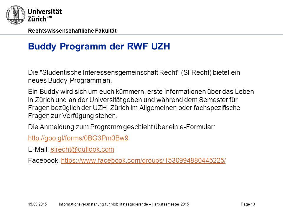Buddy Programm der RWF UZH