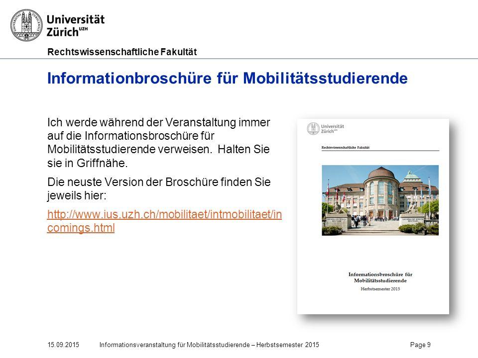 Informationbroschüre für Mobilitätsstudierende