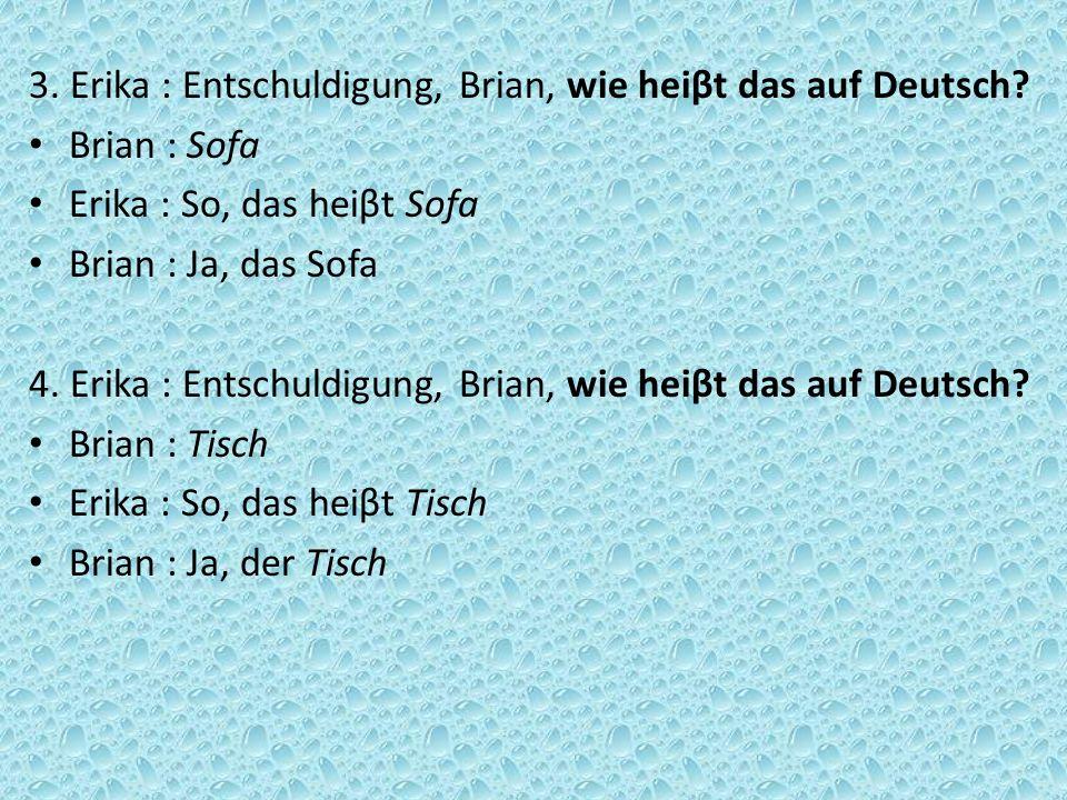 3. Erika : Entschuldigung, Brian, wie heiβt das auf Deutsch