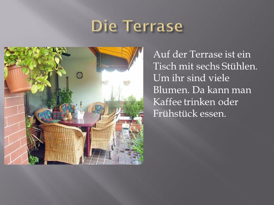 Die TerraseAuf der Terrase ist ein Tisch mit sechs Stühlen.