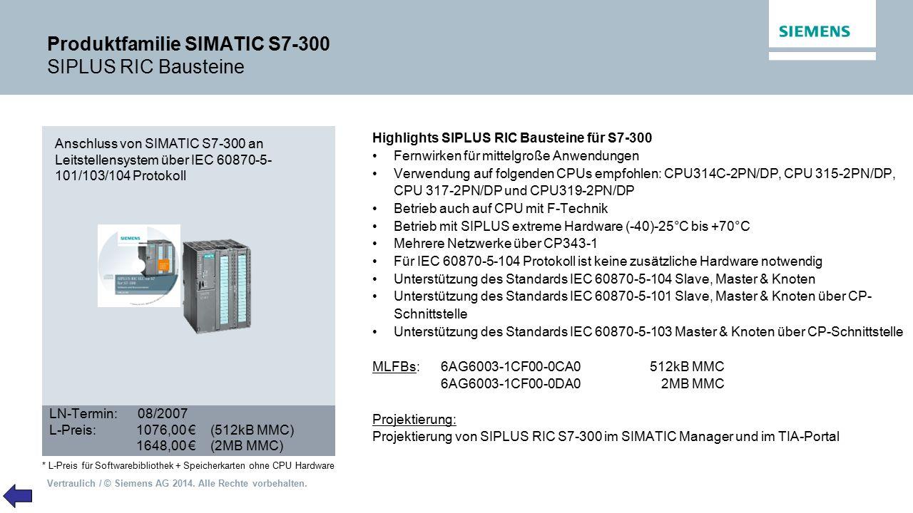 Produktfamilie SIMATIC S7-300 SIPLUS RIC Bausteine