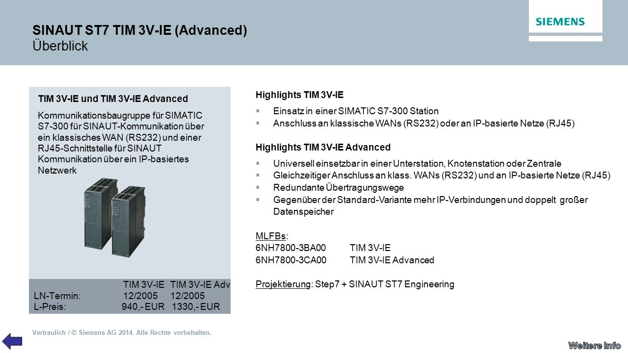 SINAUT ST7 TIM 3V-IE (Advanced) Überblick