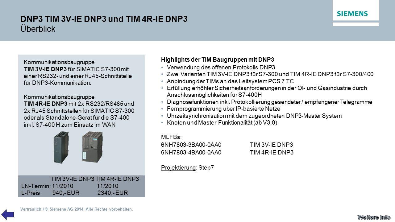 DNP3 TIM 3V-IE DNP3 und TIM 4R-IE DNP3 Überblick