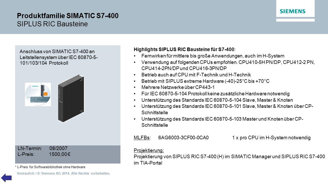 Produktfamilie SIMATIC S7-400 SIPLUS RIC Bausteine