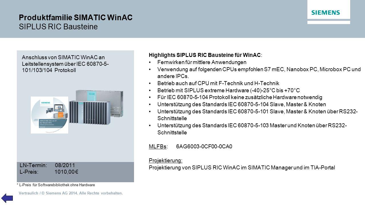 Produktfamilie SIMATIC WinAC SIPLUS RIC Bausteine