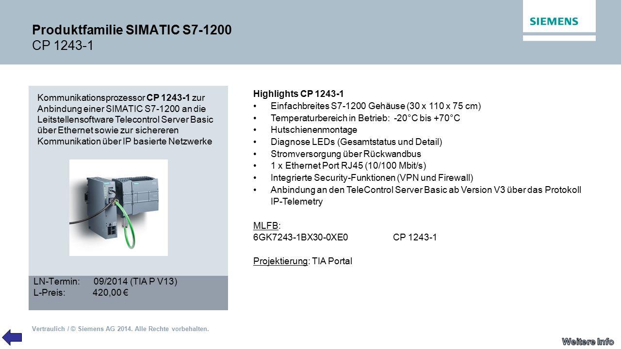 Produktfamilie SIMATIC S7-1200 CP 1243-1