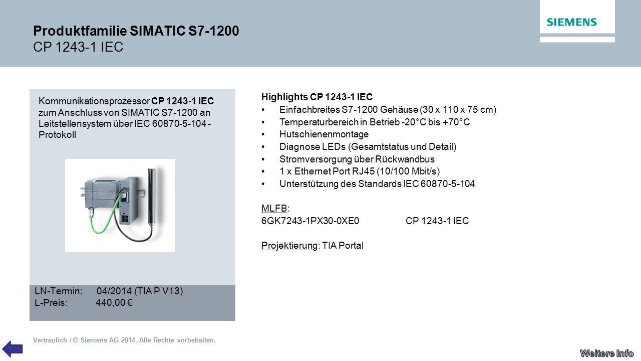 Produktfamilie SIMATIC S7-1200 CP 1243-1 IEC