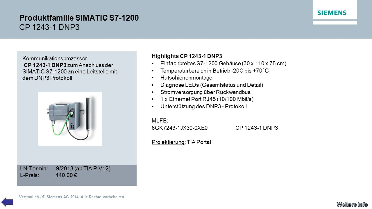Produktfamilie SIMATIC S7-1200 CP 1243-1 DNP3