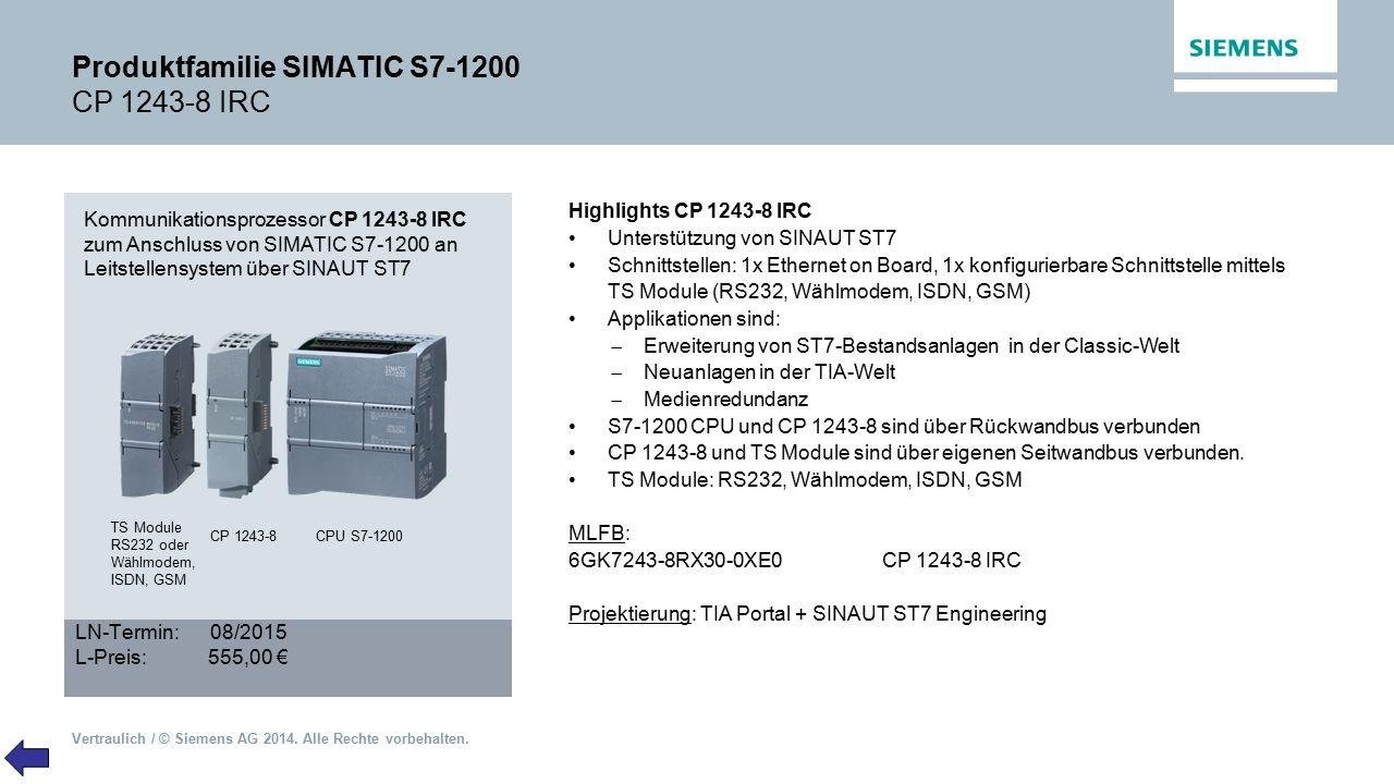 Produktfamilie SIMATIC S7-1200 CP 1243-8 IRC