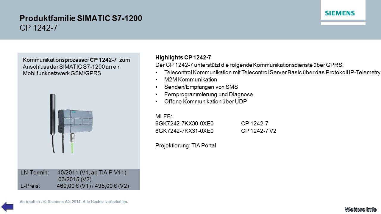 Produktfamilie SIMATIC S7-1200 CP 1242-7