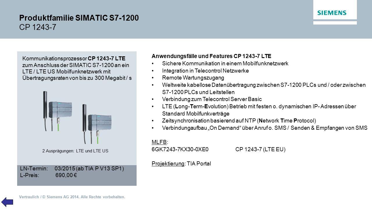 Produktfamilie SIMATIC S7-1200 CP 1243-7