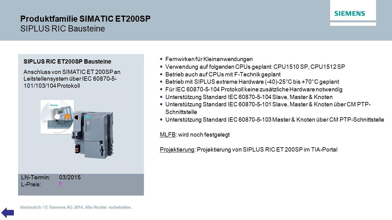 Produktfamilie SIMATIC ET200SP SIPLUS RIC Bausteine