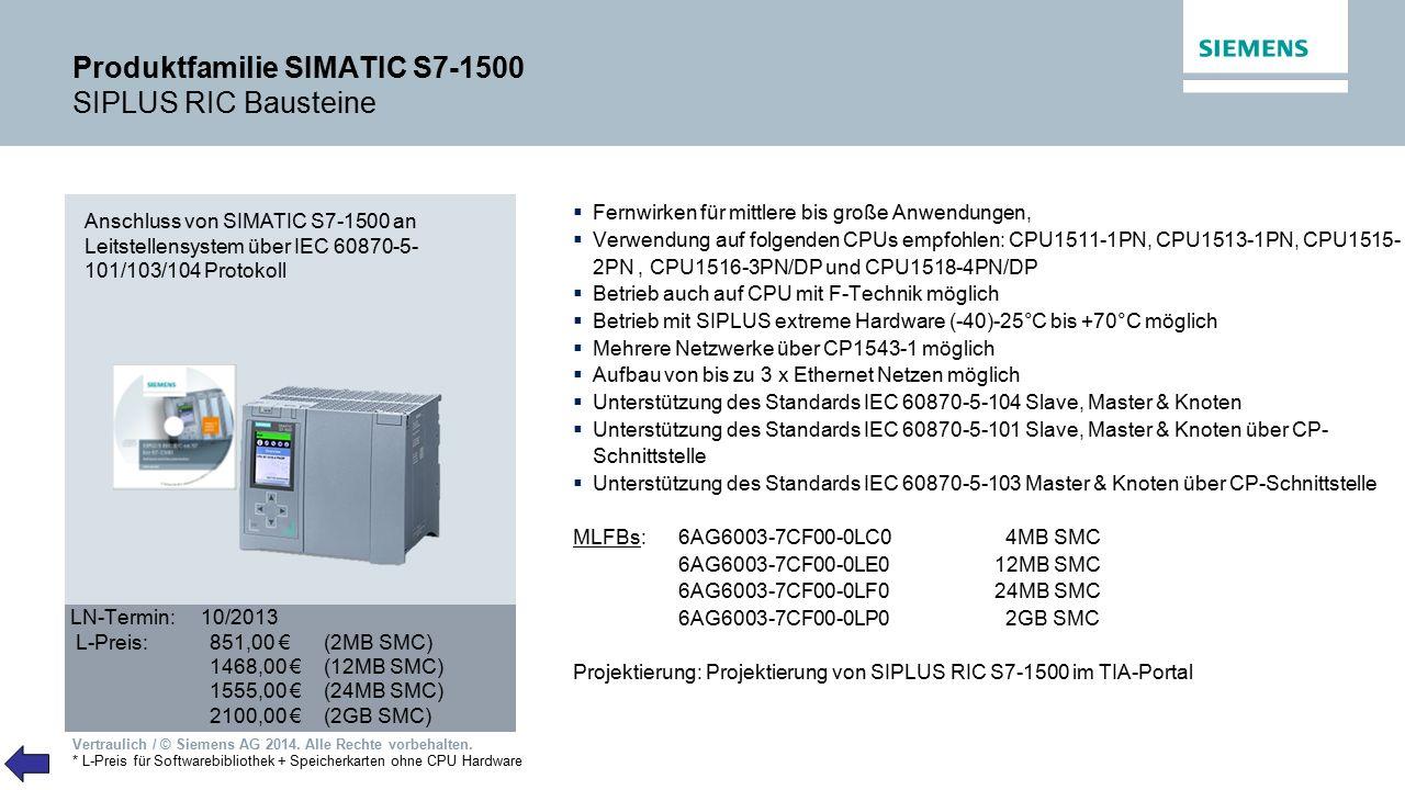 Produktfamilie SIMATIC S7-1500 SIPLUS RIC Bausteine