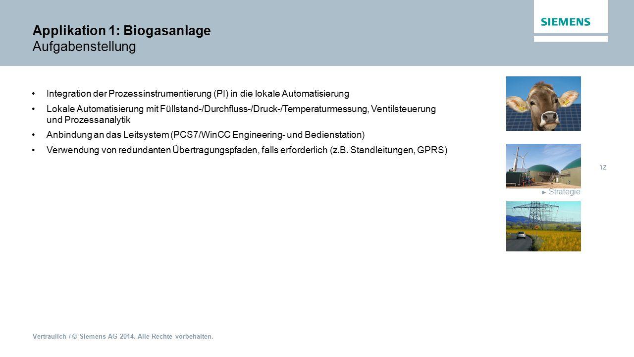 Applikation 1: Biogasanlage Aufgabenstellung