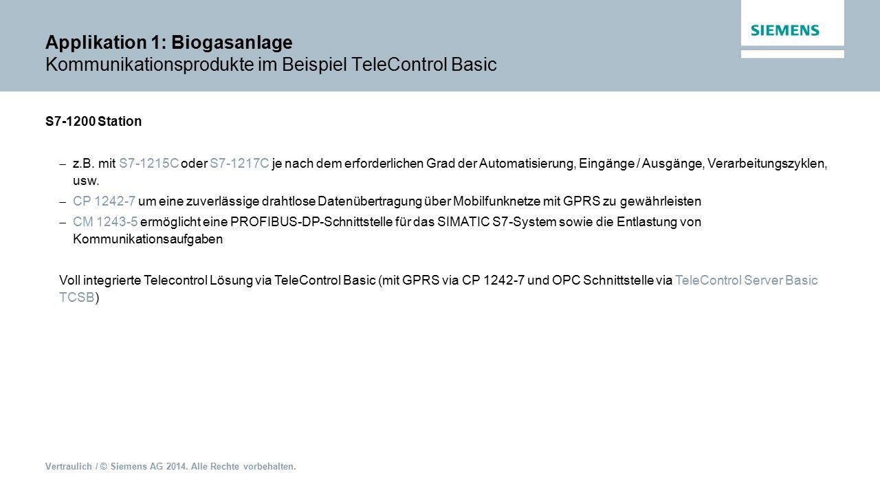 Applikation 1: Biogasanlage Kommunikationsprodukte im Beispiel TeleControl Basic