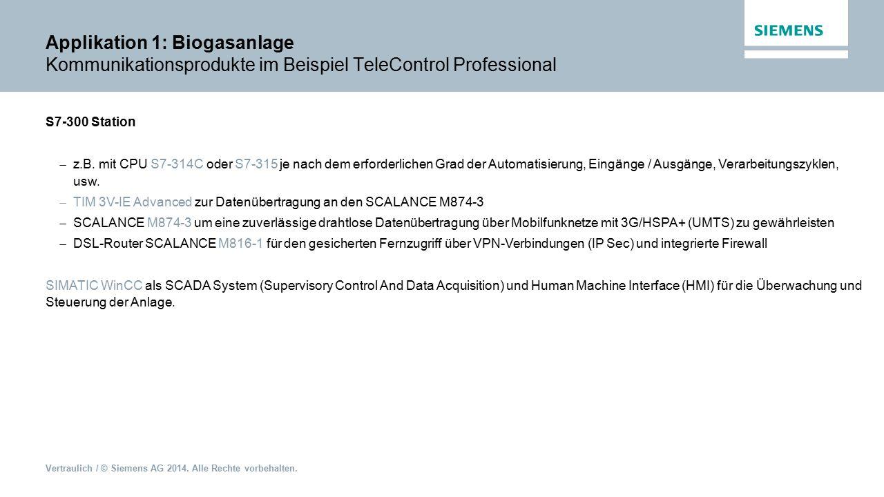 Applikation 1: Biogasanlage Kommunikationsprodukte im Beispiel TeleControl Professional