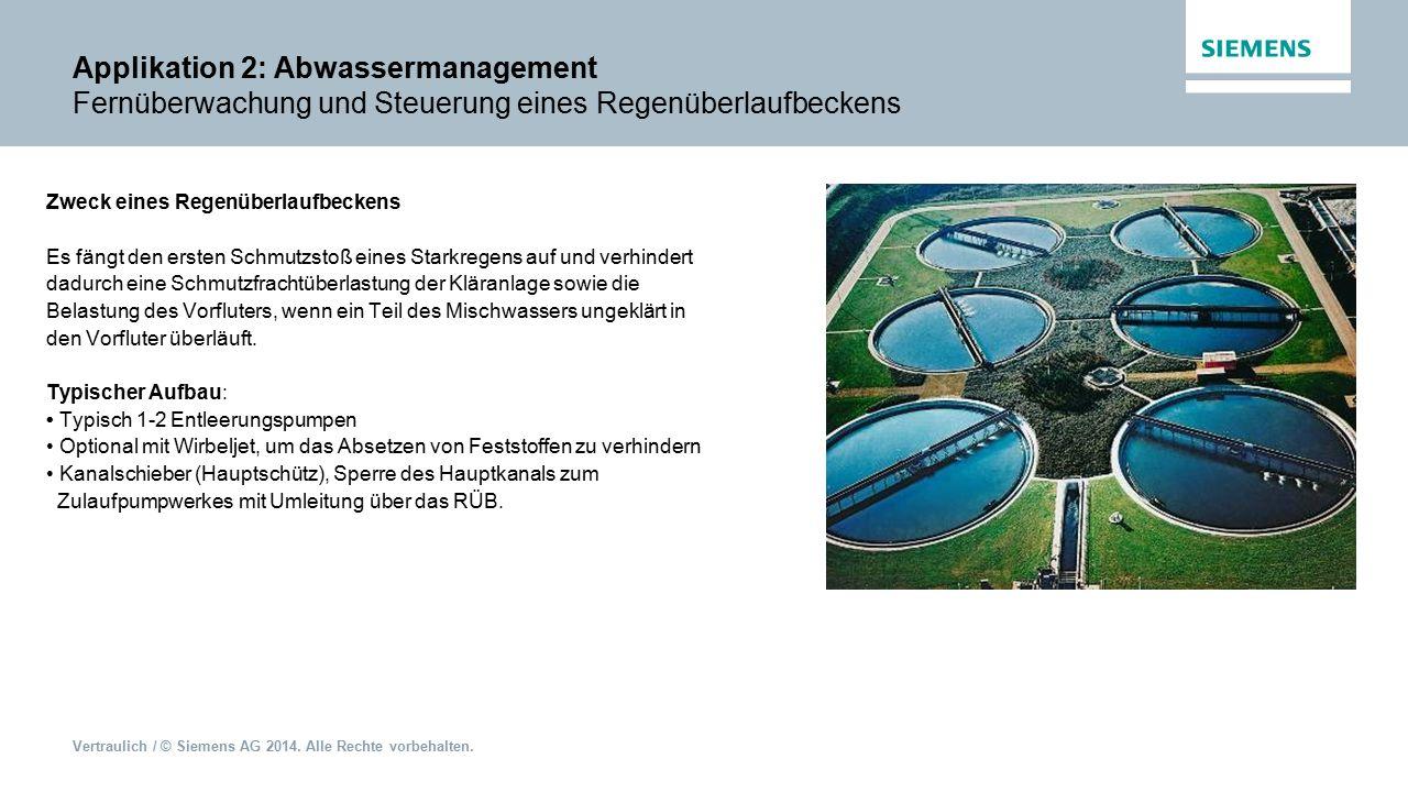 Applikation 2: Abwassermanagement Fernüberwachung und Steuerung eines Regenüberlaufbeckens