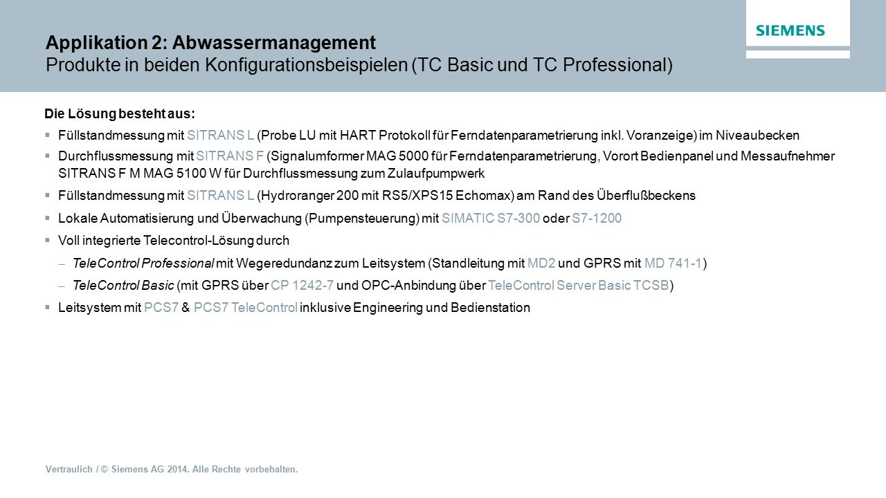 Applikation 2: Abwassermanagement Produkte in beiden Konfigurationsbeispielen (TC Basic und TC Professional)