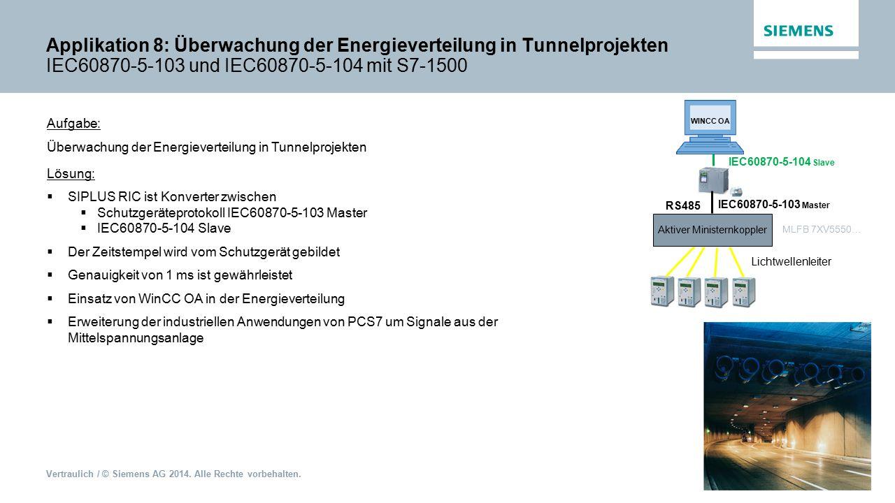 Applikation 8: Überwachung der Energieverteilung in Tunnelprojekten IEC60870-5-103 und IEC60870-5-104 mit S7-1500