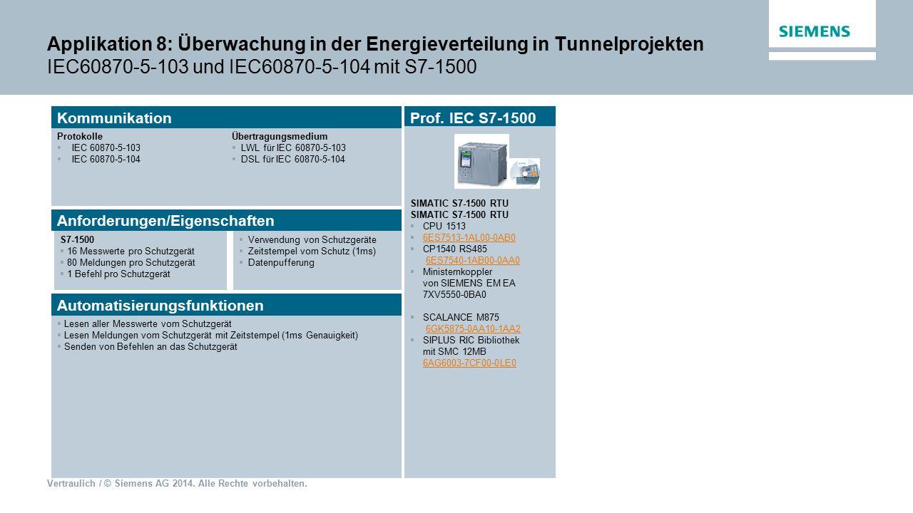 Applikation 8: Überwachung in der Energieverteilung in Tunnelprojekten IEC60870-5-103 und IEC60870-5-104 mit S7-1500