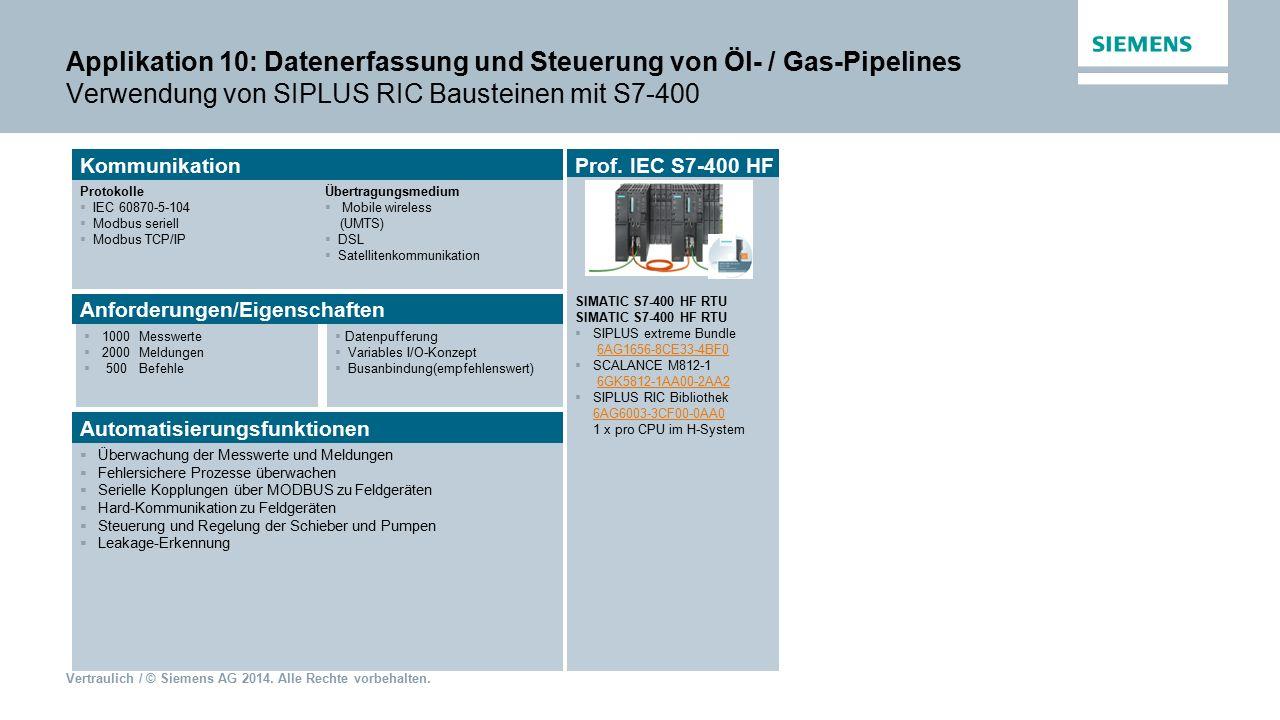 Applikation 10: Datenerfassung und Steuerung von Öl- / Gas-Pipelines Verwendung von SIPLUS RIC Bausteinen mit S7-400