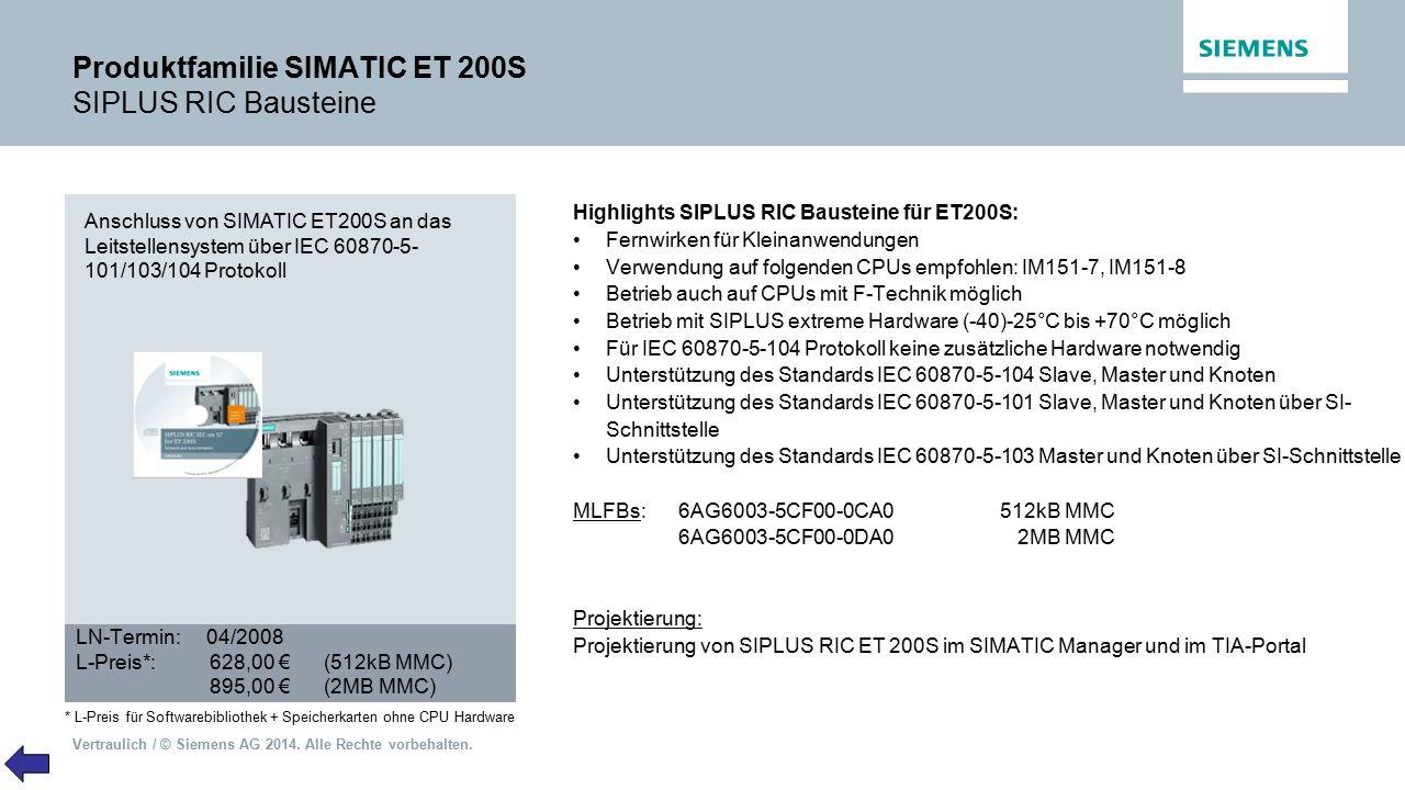 Produktfamilie SIMATIC ET 200S SIPLUS RIC Bausteine