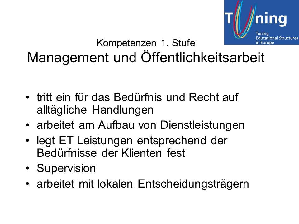Kompetenzen 1. Stufe Management und Öffentlichkeitsarbeit