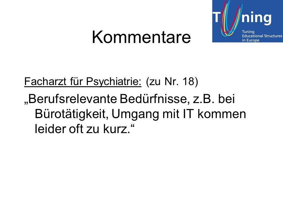"""Kommentare Facharzt für Psychiatrie: (zu Nr. 18) """"Berufsrelevante Bedürfnisse, z.B."""