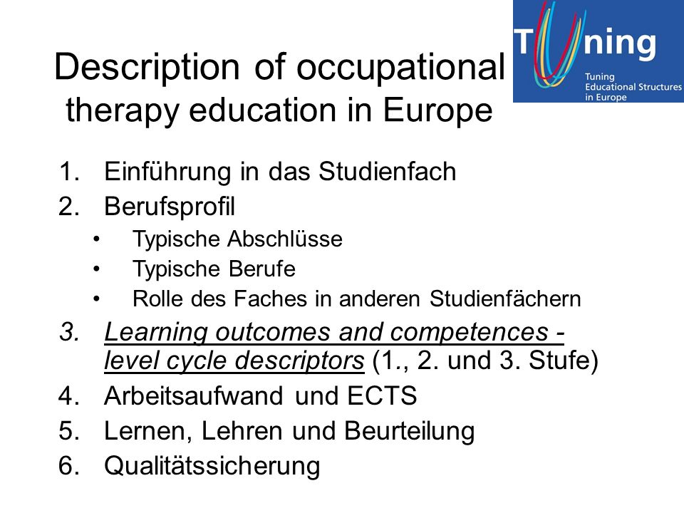 Description of occupational therapy education in Europe