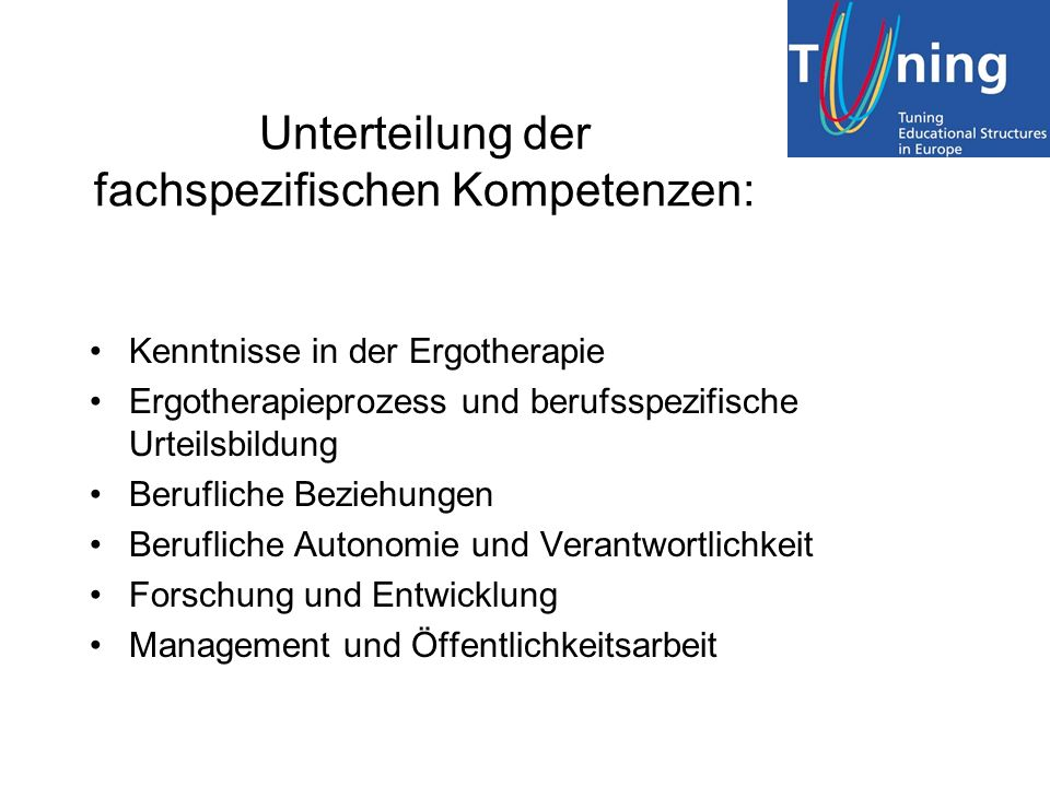 Unterteilung der fachspezifischen Kompetenzen: