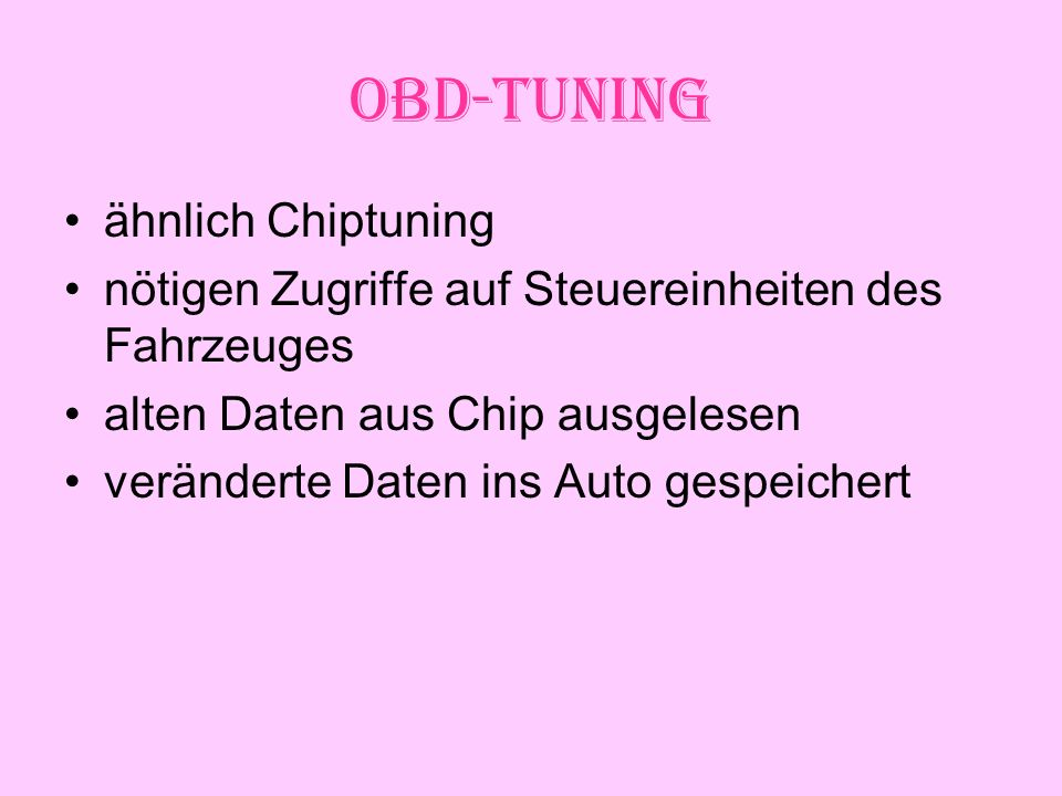 OBD-Tuning ähnlich Chiptuning